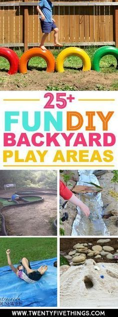 Best DIY backyard play areas for kids. Super-fun ways to get the kids playing outdoors for hours. Something for every age and play style. #BackyardIdeas #OutdoorPlay #DIY #Fun