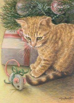 Christmas Morning Cat - Lynn Bonnette.