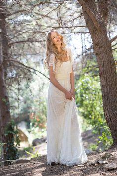 Vestido boho novia vestido novia encaje enlace vestido por mimetik