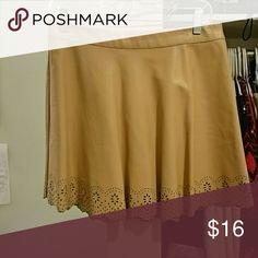 Peach Faux Leather Skater Skirt Skater Skirt from Forever 21 Cutout trim Zipper in back Forever 21 Skirts Circle & Skater