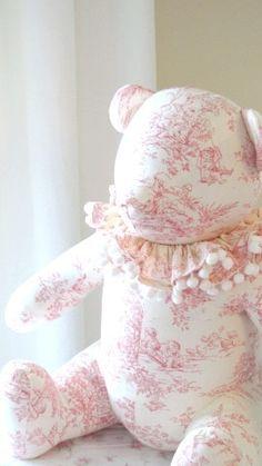 Beautiful pink cotton toile bear.