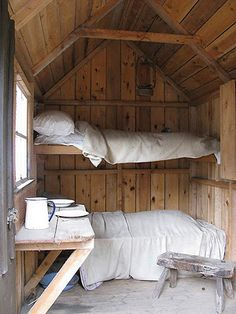 Rustic cabin bunk house with cozy textiles. (not sure of the original source, this link is a dud) Small Space Bedroom, Small Spaces, Little Cabin, Cabins And Cottages, Tiny Cabins, Log Cabins, Modern Cabins, Cabins In The Woods, Log Homes
