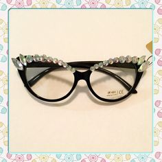 Fashion Eyewear Fashion eyewear, black glasses with iridescent rhinestones. Fun fashion a must have accessory. Price is firm. Thank you Boutique Accessories Glasses