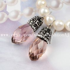 1 Pair Tear Drop Pink Crystal Quartz Faceted Earrings With White Zircon Natural Quartz Dangle Earrings Fashion Jewelry JAB050 by FashionAJ on Etsy