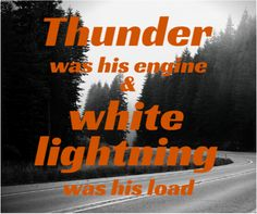 """""""And there was thunder, thunder over Thunder Road / Thunder was his engine and white lightning was his load"""" Do you know the lyrics to The Ballad of Thunder Road by heart? #moonshine #ThunderRoad #WhiskeyRunnersSpirit"""