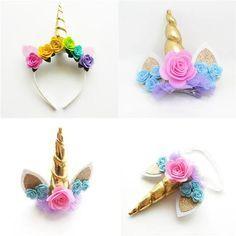 Gold Horn Unicorn Headband & Hair Clips - New Deko Sites Diy Unicorn Headband, Horn Headband, Unicorn Hair, Felt Roses, Felt Flowers, Unicorns And Mermaids, Unicorn Crafts, Unicorn Costume, Unicorn Birthday Parties