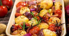 Recette de Pommes de terre et tomates cerises rôties au four. Facile et rapide à réaliser, goûteuse et diététique.