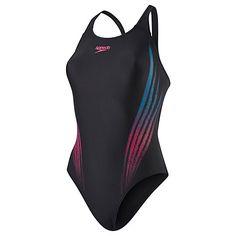 Buy Speedo Lightbeam Placement Powerback Swimsuit, Black Online at johnlewis.com