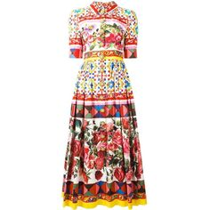 Dolce & Gabbana Mambo print shirt dress ($2,895) ❤ liked on Polyvore featuring dresses, multicolor, cocktail dresses, holiday dresses, long cotton dresses, long summer dresses and long cocktail dresses