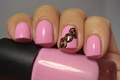 baby pink & leopard bow <3