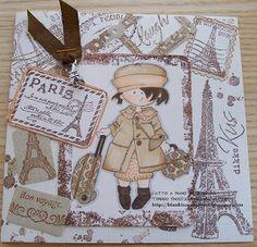 Snoesje in paris, brown monochrome card