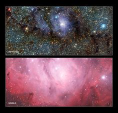 This comparison image shows the new infrared view of the Lagoon Nebula, which details a wealth of star birth and activity (top) and the murky view of visible light caused by the interference of dust and gas. This views were obtained by the European Southern Observatory in Chile.