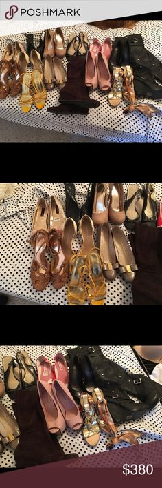 Mixed lot of shoes! All of my shoes - this is a bundle of existing listings plus some! Sizes 7-8                     Brands include. Isaac Mizrahi  Salvatore Ferragamo- flats Nine West Just fab Bakers- wedge over knee boots Hillard and Hanson Deb- size 8 platform pumps American Eagle - flats Material Girl- flats Coach Ferragamo Shoes