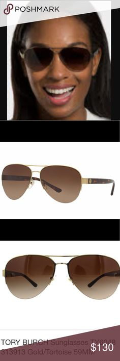 Tory Burch Sunglasses, TY6054 Imagine stylish textures and unique elements. Envision hand crafted originality and premium product. It's a picture of Tory Burch. Push the style envelope to reach new heights of sunglass precision, stability and consistency. It's as if they were made with you in mind. Gender: FEMALE Frame Style: PILOT Frame Fit: STANDARD Lens Material: POLYCARBONATE Eye/Bridge/Temple: 58/14/135 Tory Burch Accessories Sunglasses