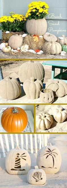 DIY: Beach House Fall with Sand Pumpkins.Take pumpkins, spray glue and beach sand and you have the ingredients to a simply awesome Fall decor idea that's perfect for a beach house or any home inspired by sun, sand and sea. Halloween Harbor ~~ Halloween by the Sea Party Decorations & Ideas