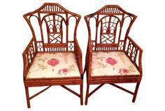 Bamboo Armchairs, Pair