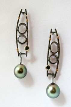 Sydney Lynch, Bubble Bar Earrings. Tahitian pearls, Tourmalines, 18k gold, oxidized sterling silver.