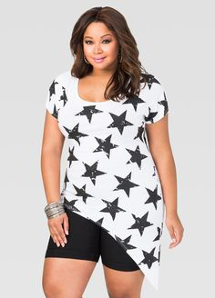 47ea332356042 Star Asymmetrical Tee. Plus Size ...