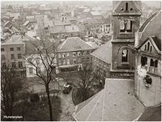 1945: View on city centre from one of the towers of the Munsterkerk