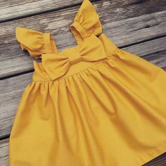 Mustard Flutter sleeves Big bow Dress Girls by sweetwhitepeony2
