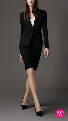 Black Skirt Suits for Women perfect for work - corporate attire young professional Business Outfits, Office Outfits, Business Fashion, Business Women, Work Outfits, Business Wear, Business Casual, Business Formal, Office Wear