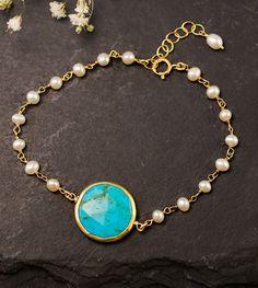 White Pearl Bracelet - Charm Bracelet - Turquoise Bracelet - Gold bracelet…