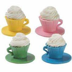 Energize your high tea with A Lively Brew. These brightly-colored candy tea cups, heaping with white chocolate mousse, can lighten up any rainy day. this would be cute for a little girls tea party White Chocolate Mousse, Choclate Mousse, Chocolate Dipped, Girls Tea Party, Wilton Cake Decorating, Dessert Cups, Cup Desserts, Wilton Cakes, Weird Food