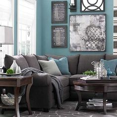Living Room Turquoise, Teal Living Rooms, Living Room Orange, Living Room Color Schemes, Paint Colors For Living Room, Living Room Grey, Living Room Sofa, Room Colors, Living Room Furniture