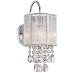 """Silver Line Shade 12"""" High Chrome and Crystal Wall Sconce - #Y7690   LampsPlus.com $80- also with black shade"""