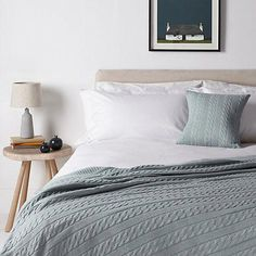 Buy Slate Croft Collection Cashmere Blend Cable Knit Cushion from our Cushions range at John Lewis & Partners. House Shelves, Shelves In Bedroom, Wooden Drawer Organizer, Scandi Bedroom, Elevated Bed, Cable Knit Throw, Natural Bedroom, Zen Room, Knitted Cushions