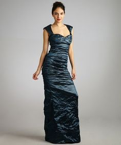 Nicole Miller teal metallic ruched fishtail evening gown | BLUEFLY up to 70% off designer brands at bluefly.com