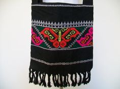 Neon Bright Embroidered Butterfly Ethnic Tote by thelittlegrasshut, $16.00