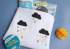 Wolken und Tropfen mit Kartoffeldruck DIY, cloud print with potato stamp and colorful raindrops