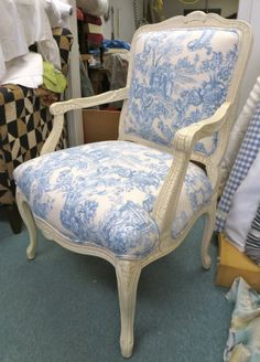 Sam Moore French Style Chair in Cream and Blue by WydevenDesigns, $410.00