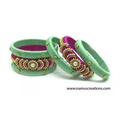 Pink and Pista Combination Silk Thread Bangles Set