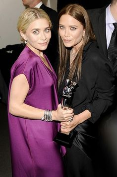 Mary Kate and Ashley Olsen at the CFDA awards.  In 2004 they made news by signing a pledge to allow full maternity leave to all the workers that sew their line of clothing in Bangladesh.