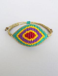 Evil eye macrame bracelet,Adjustable,Woven,Braided,Boho,All seeing devil's protection,Colorful,Ethnic elegant handmade waxed fiber jewelry