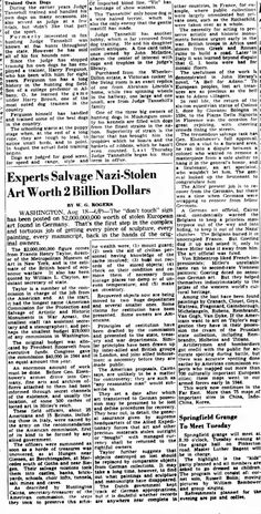 Aug 1945 article about the real Monuments Men and the looting of Europe by the Nazis.