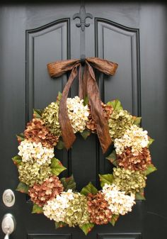 XL Wreaths, Hydrangea Wreaths for Summer, Brown Ribbon Bows, Summer/Fall Wreaths, Summer Solstice, Summer Decor, Wreaths, Front Door Wreaths via Etsy