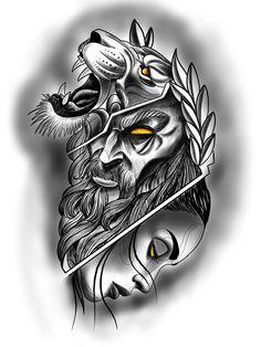 Zues Tattoo, Tattoo On, Dark Tattoo, Black Tattoos, Small Tattoos, Cool Tattoos, New Tattoos, Lion Tattoo Design, Angel Tattoo Designs