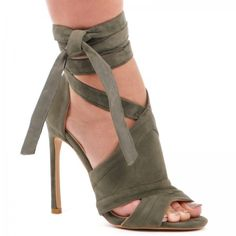 Tyra Lace Up Faux Suede Stiletto Heels in KHAKI