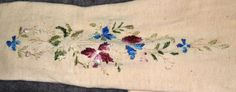 Ebay - Pentiques: Antique white cotton long stocking 1. antique original mid 1800s 2. white cotton, hand embroidered silk decoration 3. no holes, not torn, not mended 4. some light age yellowing 5. a couple of small age spots 6. no rot, very strong measurements 1. total length 23 in. 2. around top 10 in., will stretch to 13 in. 3. around ankle, 8 in. 4. heel to toe 8.5 in.