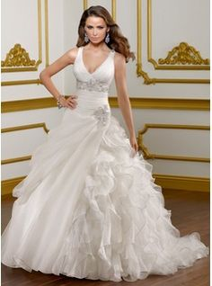 A-Line/Princess V-neck Chapel Train Organza  Satin Wedding Dresses With Ruffle  Beadwork (002004781)