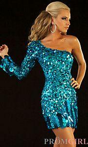 Buy Short One Shoulder Blue Sequin Dress at PromGirl