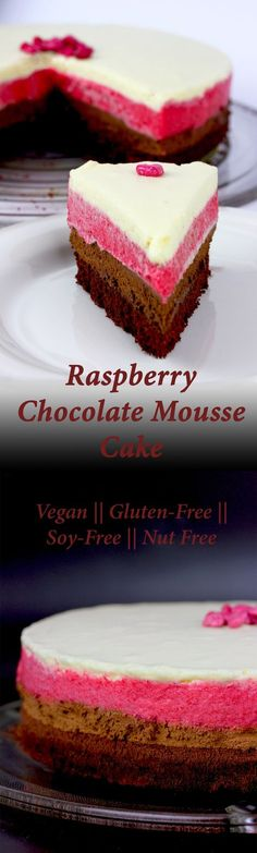 Best ever vegan, gluten-free, soy-free, nut-free Chocolate Raspberry Mousse Cake made with aquafaba - a very light, airy cake for special occasions.
