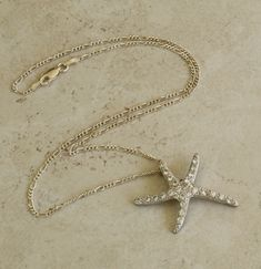 Sterling Silver Starfish Slide Pendant Necklace Clear CZs Ocean Theme Vintage