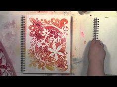 Stenciling FUNdamental using spray inks and StencilGirl stencils by Carolyn Dube - YouTube