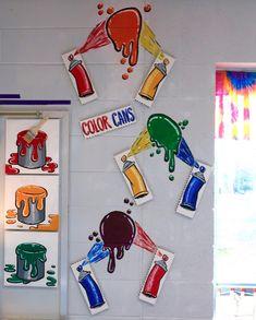 In the Art Room: Spray Paint Wall Display! In the Art Room: Spray Paint Wall Display! Art Room Doors, Room Art, Spray Paint Wall, Art Classroom Decor, Classroom Board, Art Bulletin Boards, Art Room Posters, Cassie Stephens, Elementary Art Rooms