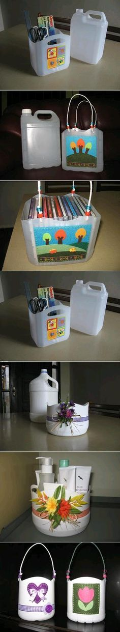 Recycling : Plastic Bottle Baskets. Great idea to upcycle your used milk cartons!