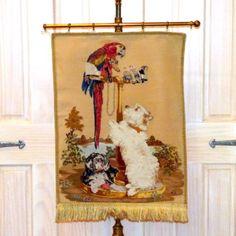 В конце 19-го века-Pettipoint-Woolwork-баннер с изображением-а-Ландсир-Живопись